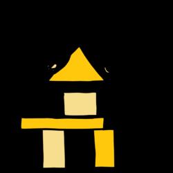 Eine Hand setzt Bausteine aufeinander